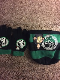 Pair of black-and-green WWE John Cena gloves and knit cap
