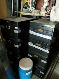 Two black office cabinet lot sale