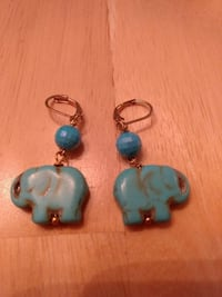 elephant turquoise pendant earrings