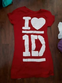 red and white I Love 1D crew-neck short-sleeved shirt