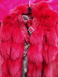 New Cherry red suede and rabbit fur vest