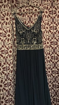 women's black and silver-colored v-neck pleated dress brand new size 10 Austin, 78721