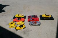 red and yellow plastic/metal toy cars. $5.00 each Riverside, 92503