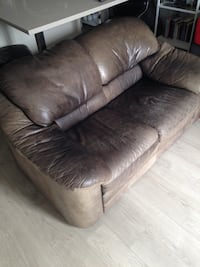 Brown leather loveseat sofa Vancouver