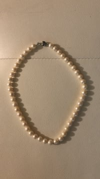 white and black beaded necklace