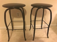 Two black metal base with black leather padded stools McLean, 22102