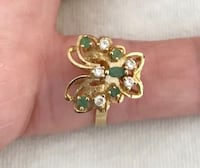 New 14k Butterfly 3.7.  Size 8.  Totally resizable.  1920's style.  Real emerald and diamonds.  Great accent to any outfit.  Makes a perfect gift for birthday or Christmas for the one you love.   My family used to own a jewelry store.  My father died rece Fullerton, 92831