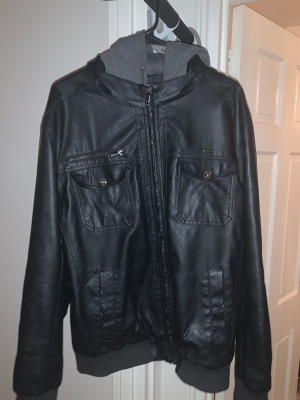 Leather jacket with hood(firm price) 21bcd896-f6f8-4850-bcca-255f6d568a37