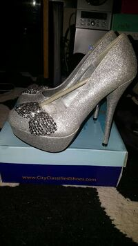 grey glittered stilettos platform Santa Cruz, 95060