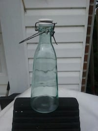 Vintage green glass bottle