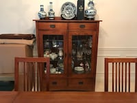 Basset Formal Dining Table with 6-Chairs and Lighted China Cabinet EXTON