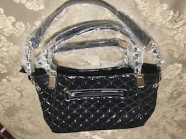 Black quilted leather 2 way handbag