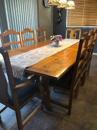 Rectangular brown wooden table with eight  chairs dining set Gilbert, 85233