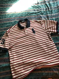 white and brown striped Ralph Lauren polo shirt Raleigh, 27610