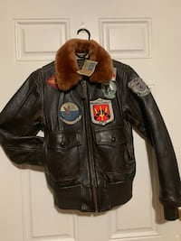 Brown leather TopGun zip-up jacket