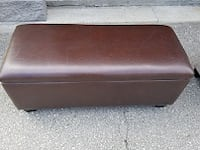 brown wooden framed brown leather padded bench TORONTO