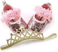 New Size 3 princess shoes and tiara headband Maywood, 90270