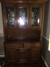 Solid Oak Dining Room hutch with glass doors Ladysmith, V9G 0B2
