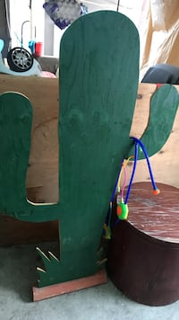 Hand made Green wood cactus for party decor Bell, 90201