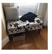 Beautiful Bench Chair With Storage! Black and Cream