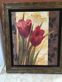brown wooden framed painting of red flowers West Milford, 07480