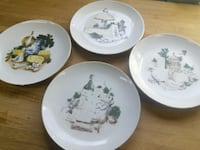 4 decorative plates from East Germany 60s
