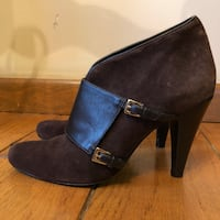 Brown Suede & Leather Ankle Boots 7.5 Franklin Square, 11010