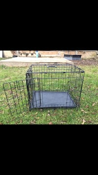 black metal folding dog crate, room divider, 2 entries