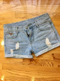 Light Blue High Waisted Distressed Roll-up Denim Shorts Vancouver