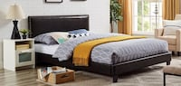 Black Faux Leather Bed Frame, Queen, #3002Q Santa Fe Springs