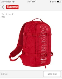 Supreme Fw18 Red backpack Olney, 20832