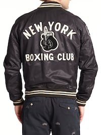 black and white New York Boxing Club leather jacket