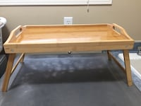 Wood Bed Serving Tray Table Foldable Legs Easy Clean Surface Bolton