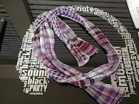 purple, pink, and gray plaid scarf