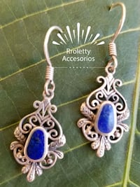 Sterling silver 925 earrings with blue Stone. Pico Rivera