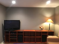 Black and brown wooden tv hutch with lamp-not including TV Vaughan, L4L 0C5