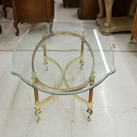 Vintage gold tone metal and glass coffee table