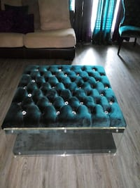 Teal and glass ottoman Savannah
