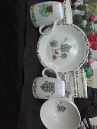 white ceramic dinnerware with assorted prints