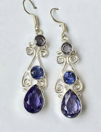 Silver Pierced Earrings - Blue Stones Lubbock