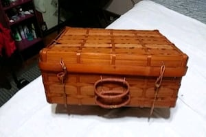 vintage woven suitcase from the early 50s
