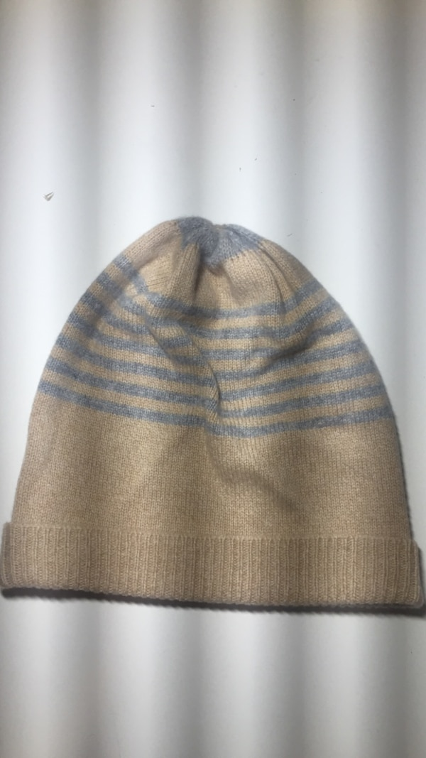 blue and gray knit beanie cap