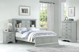 Grey Twin or Full Bed With Storage Headboard   **FINANCING AND FREE DELIVERY**