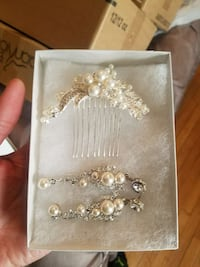 Bridal earrings and hair piece