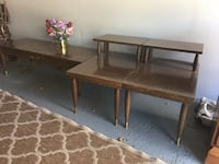 Two end and one coffee table.  Bought around 1960's.  Made by Mersman.  Good shape.  Sturdy.  $25 takes all 3 pieces.  Great for basement or cottage.  May be Formica tops.  Inkster, 48141