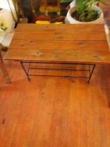 brown wooden table or seat