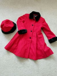 Wool jacket/coat with matching hat. Girls 6x