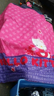 pink and purple Hello Kitty textile