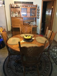 brown oak dining table set with hutch WASHINGTON