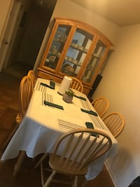 White wooden dining table set